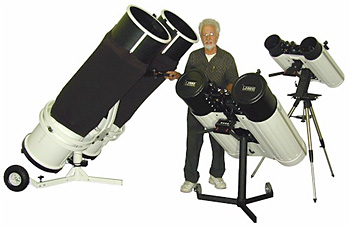Jim Burr surrounded by his Binocular Telescopes
