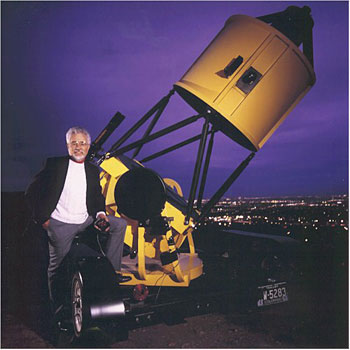 Jim with 40-inch folded Newtonian telescope