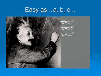 Einstein discovering his famous equation